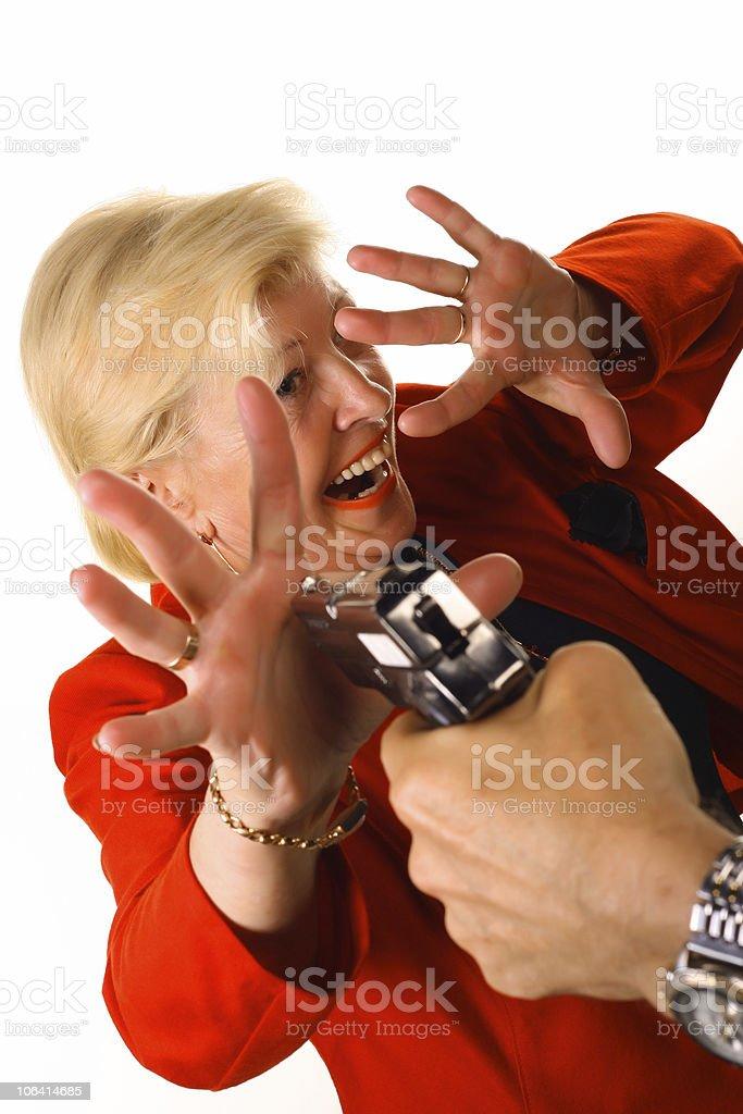 men threatening pistol women royalty-free stock photo