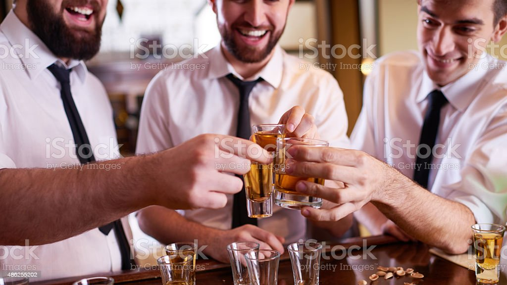 Men toasting in the bar stock photo