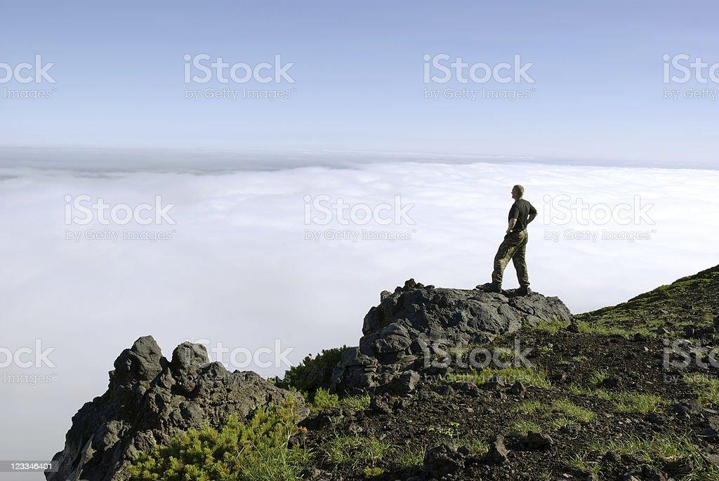 Men volcano stock photo