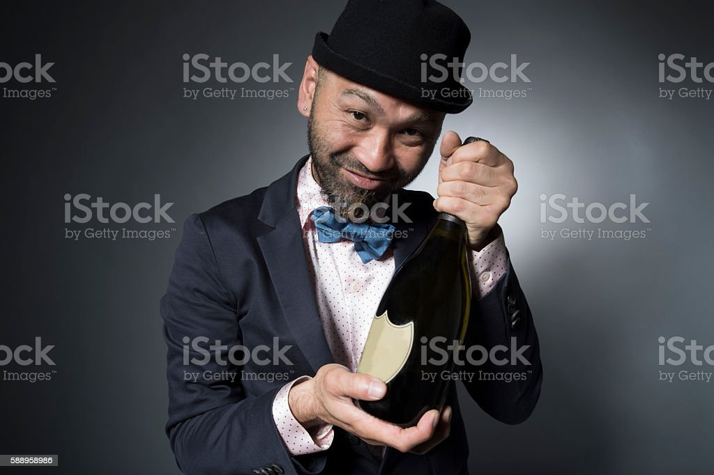 Men who had drunk to have a happily champagne stock photo