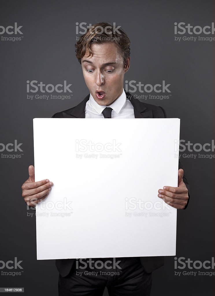 Men with a banner royalty-free stock photo