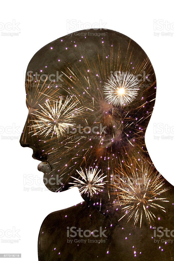 Men with a Fireworks stock photo