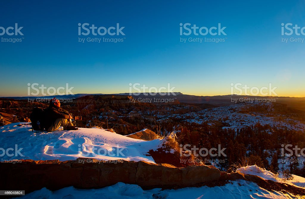 Men with backpack  in Bryce Canyon, stock photo