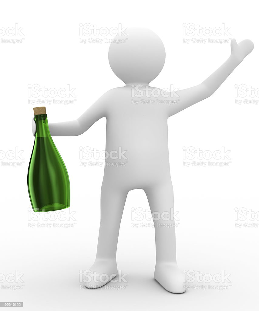 Men with bottle on white background. Isolated 3D image stock photo
