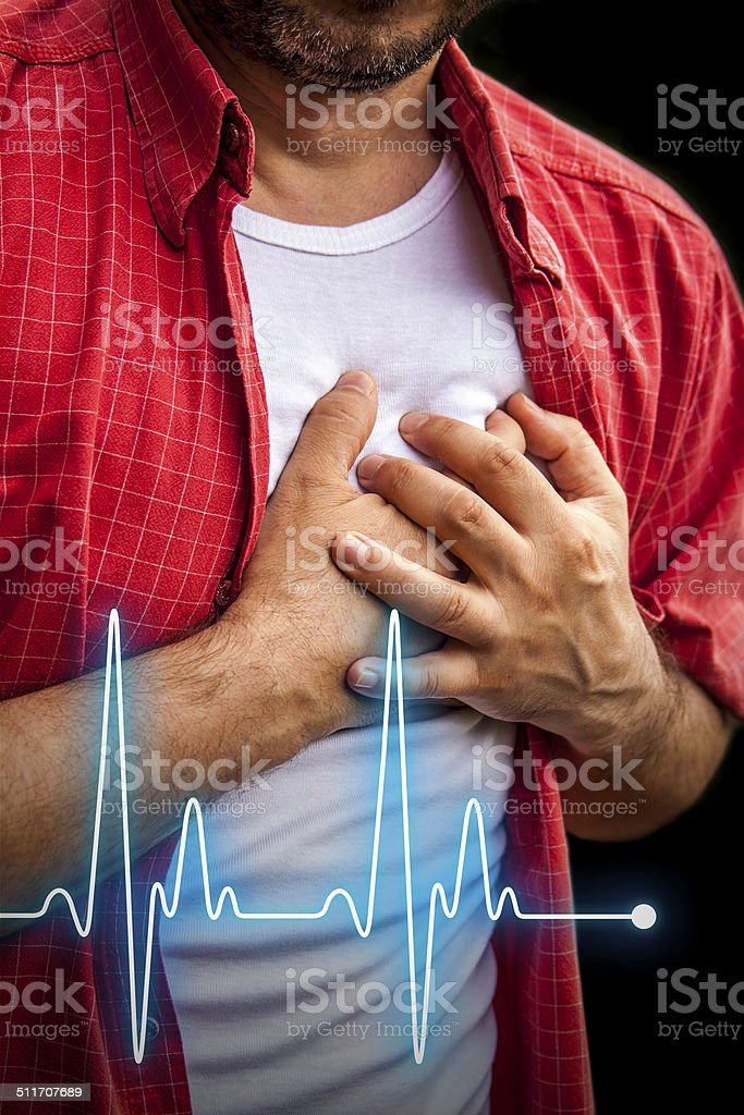 Men with chest pain - heart attack stock photo