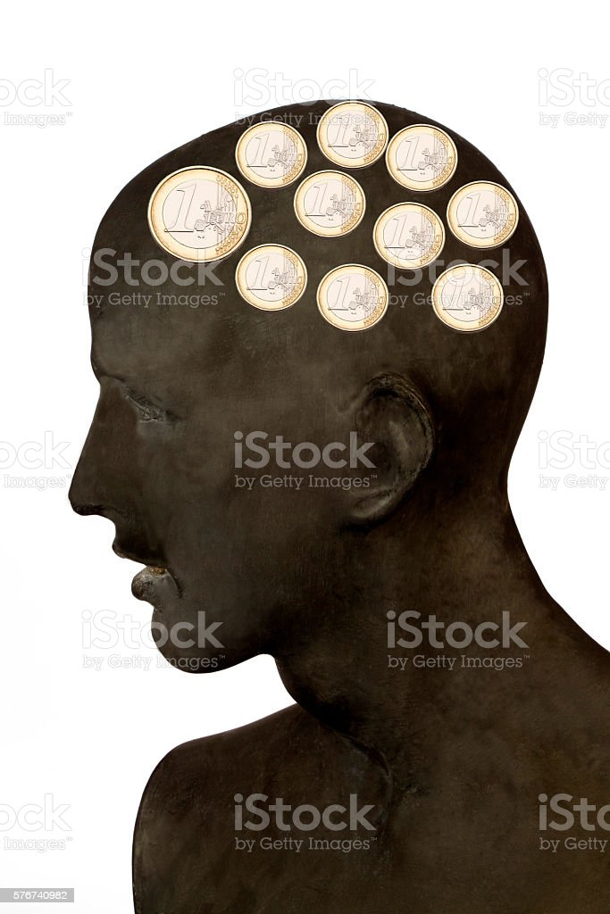 Men with Euro in the Head stock photo