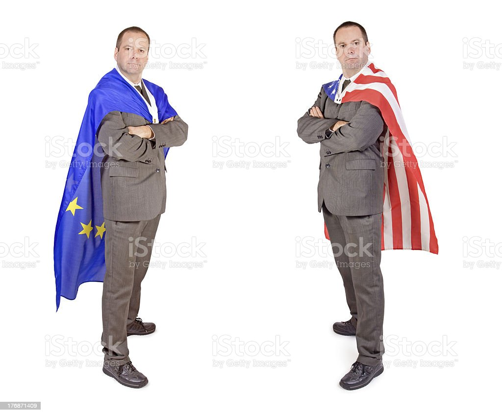 Men with flags stock photo