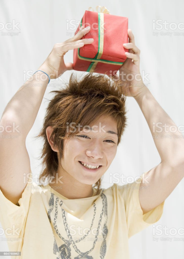 Men with gifts stock photo