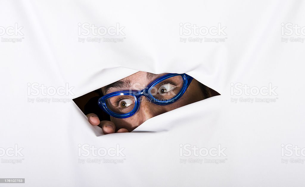 Men with glasses spying royalty-free stock photo