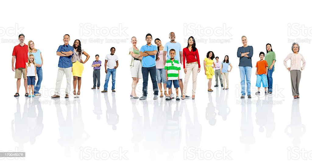 Men, women and children all standing in different groups royalty-free stock photo
