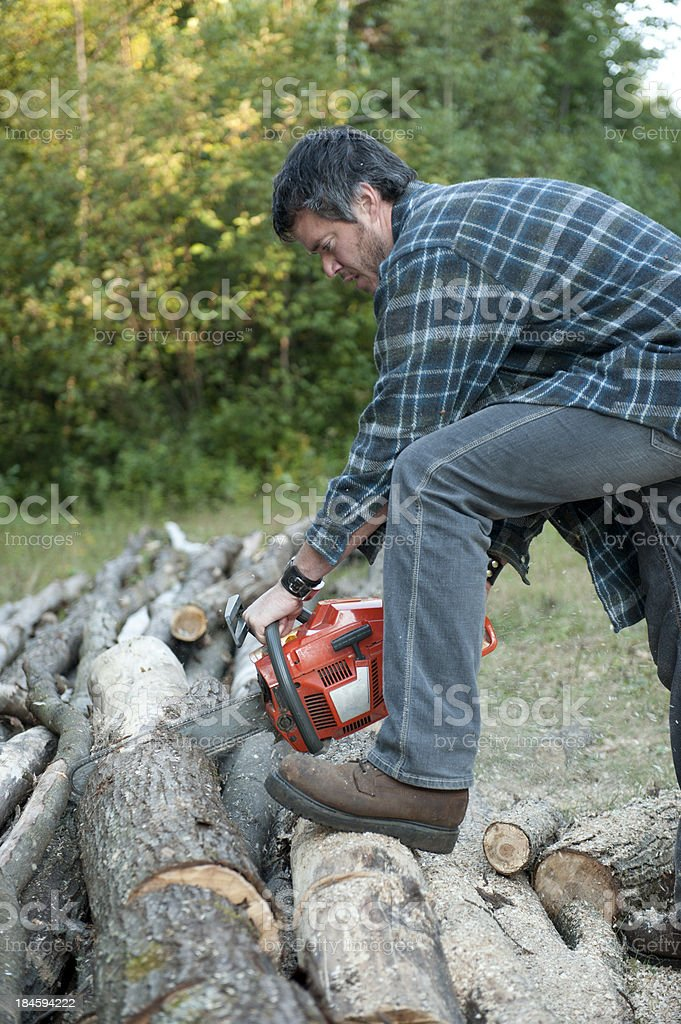 men wood cutting with chainsaw stock photo