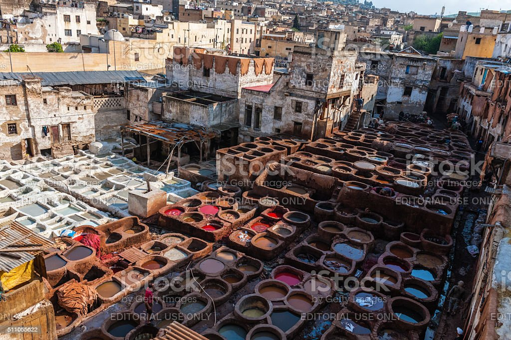 Men Working in Leather Tanneries , Fez, Morocco stock photo
