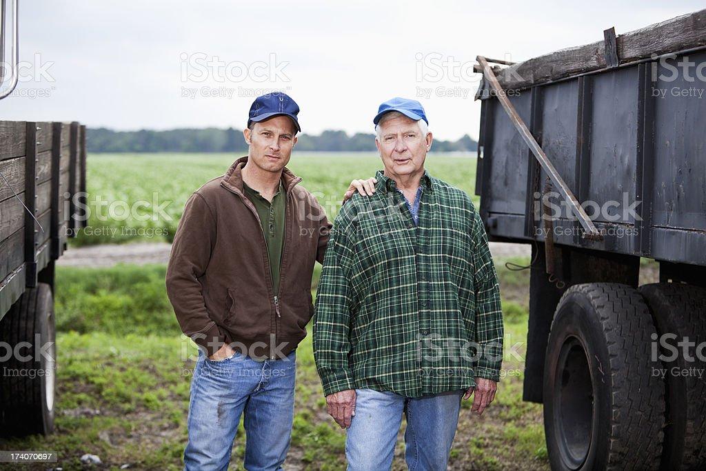 Men working on a potato farm, with trucks stock photo