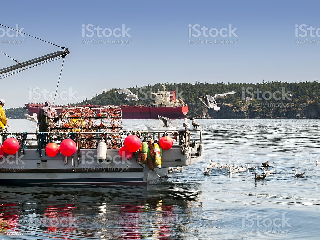 Men working on crab boat stock photo