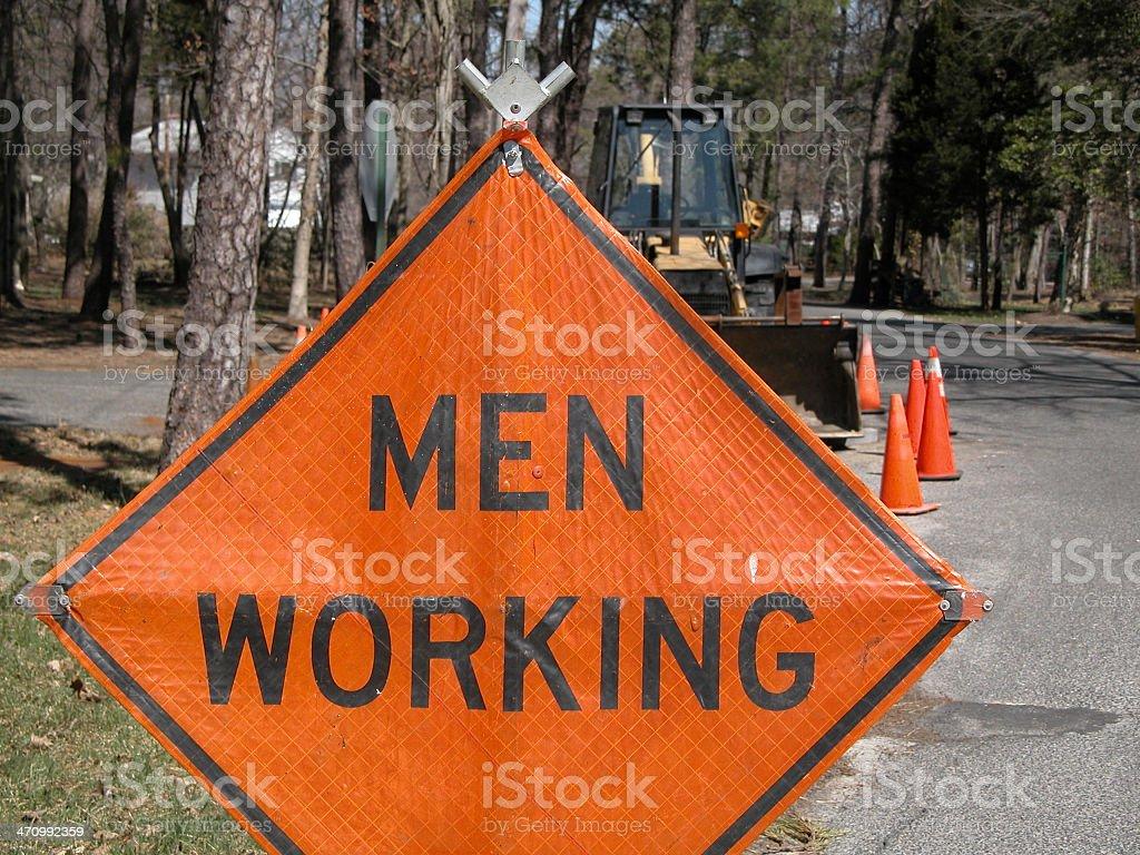 Men Working sign royalty-free stock photo