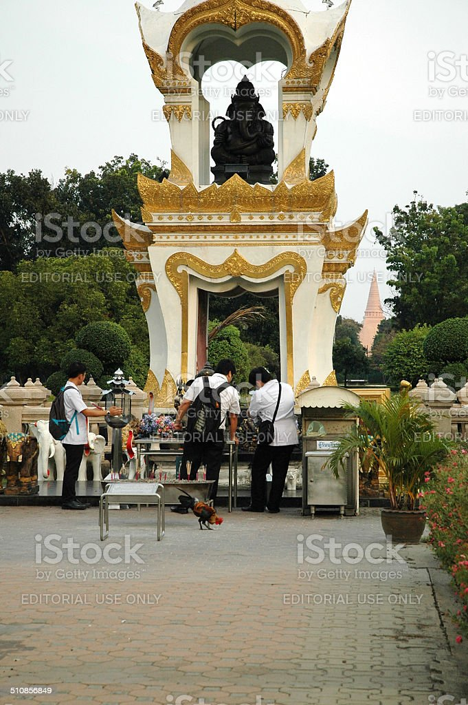 Men Worship Ganesh Memorial stock photo