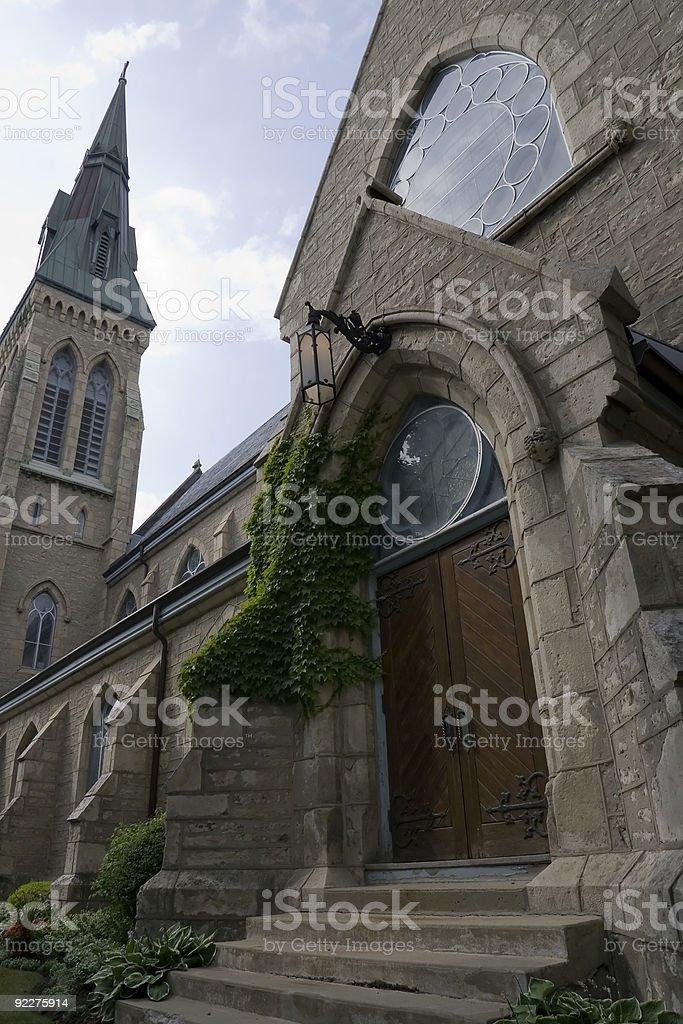 Menacing Church Doors stock photo