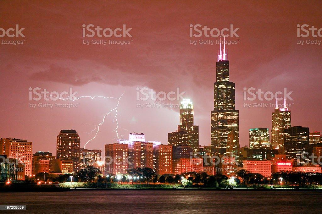 Menacing Clouds, Bright Lightning stock photo