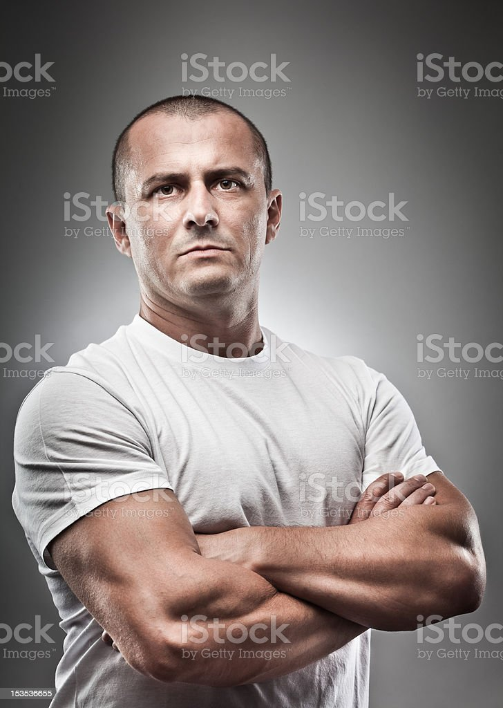 Menacing man portrait stock photo