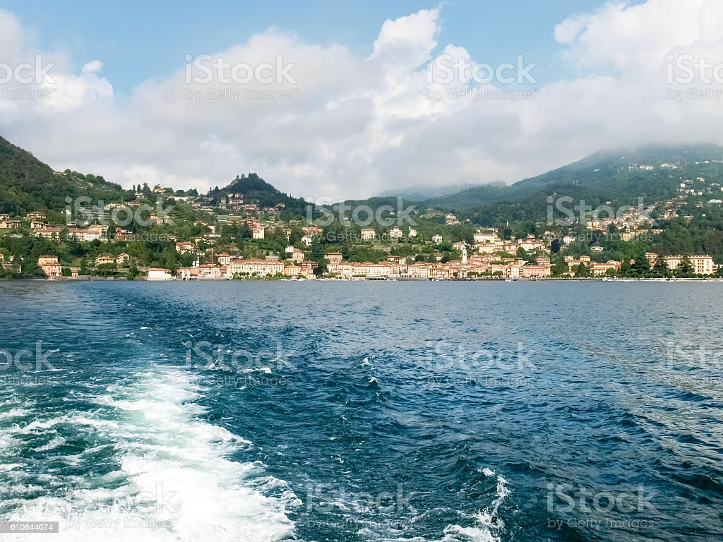 Menaggio views of the town and the dock. stock photo