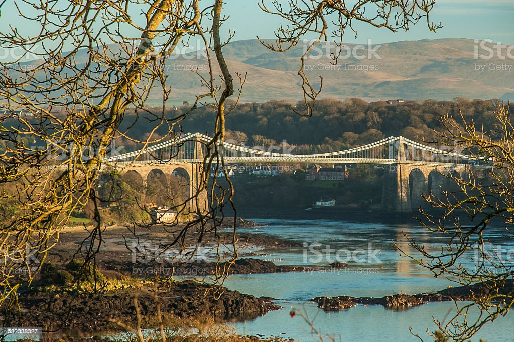 Menai Bridge and The Swellies Landscape stock photo