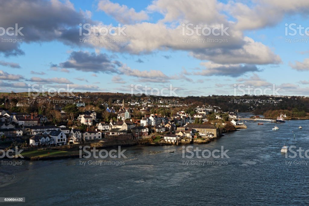 Menai Bridge Village, viewed from Suspension Bridge stock photo