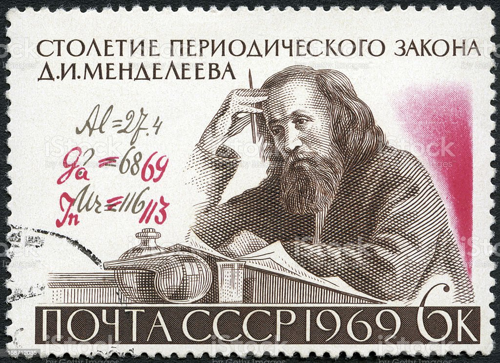 USSR 1969 D.I. Mendeleev (1834-1907) and Formula with Author's Corrections royalty-free stock photo