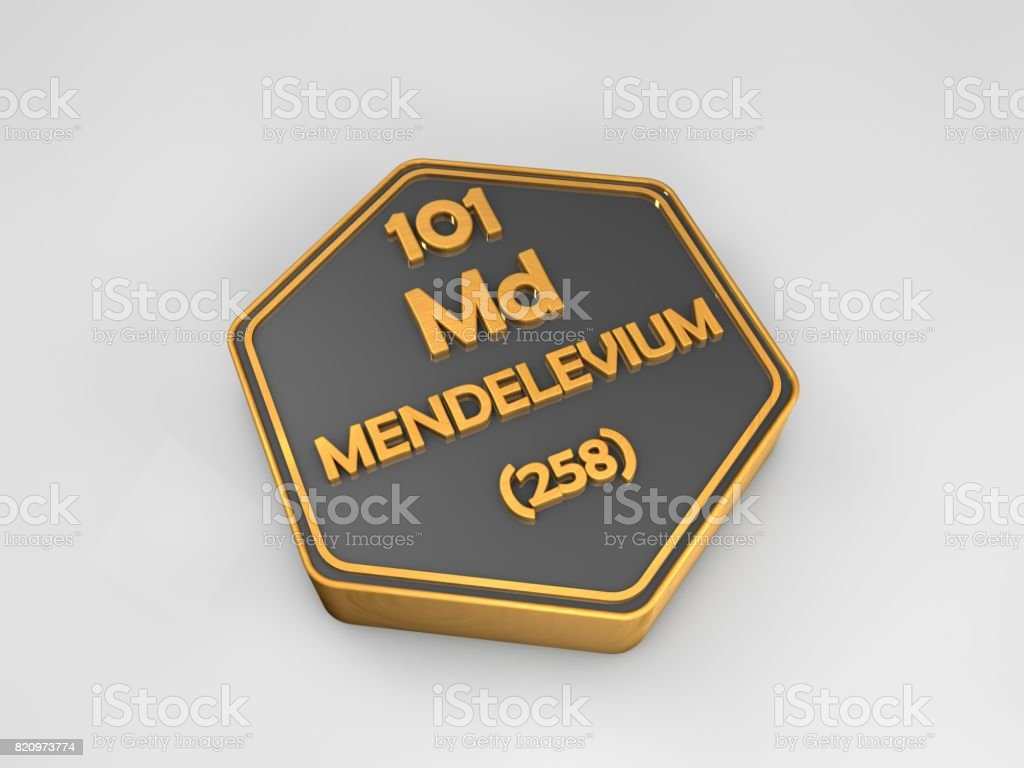 mendelevium - Md - chemical element periodic table hexagonal shape 3d render stock photo