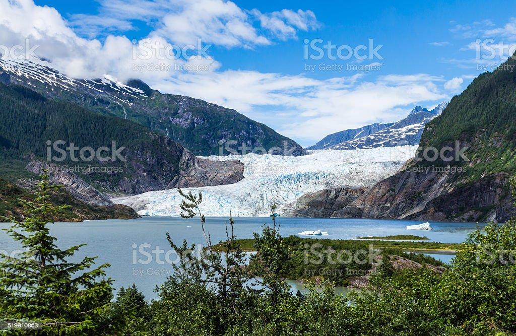 Mendenhall Glacier and Lake in Juneau, Alaska, USA stock photo
