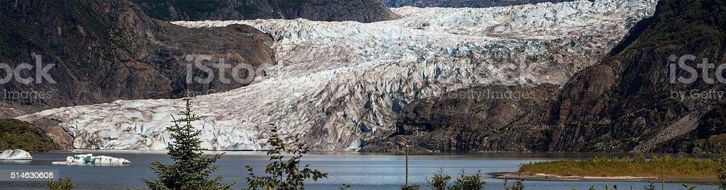 Mendenhall Glacier Ice Sheet Panorama stock photo