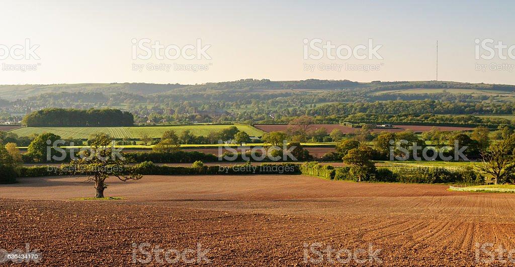Mendip Hills and Somerset farmland stock photo