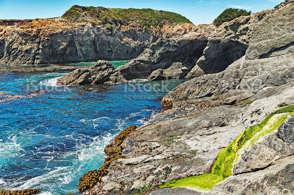 Mendocino Shoreline Views Geological Features stock photo