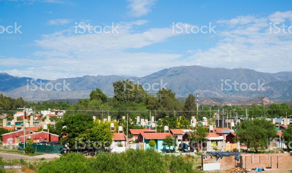 Mendoza in La Rioja valley at foot of Andes stock photo