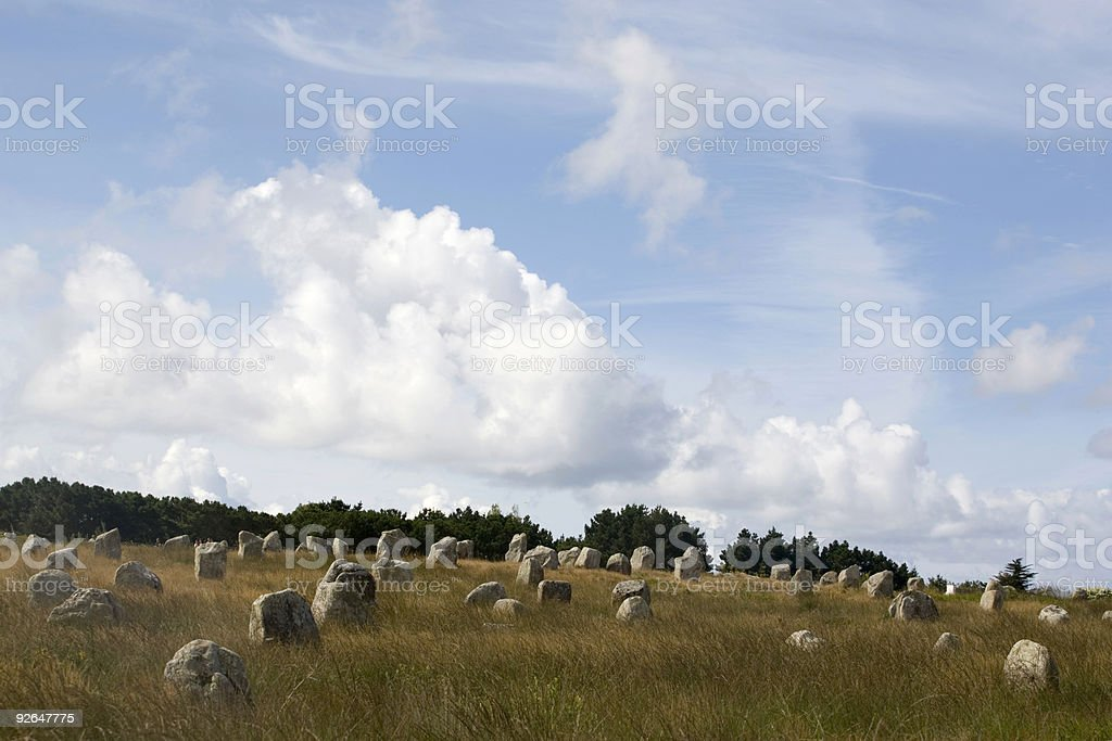 menhirs on a field at M?nec stock photo