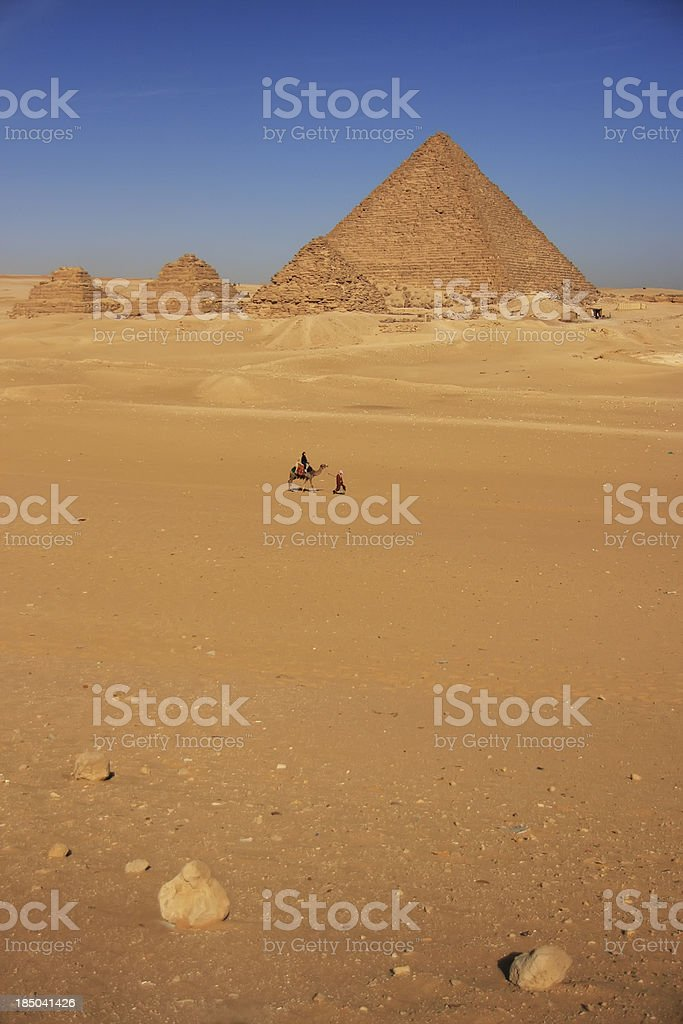 Menkaure Pyramid and Pyramids of Queens, Cairo stock photo