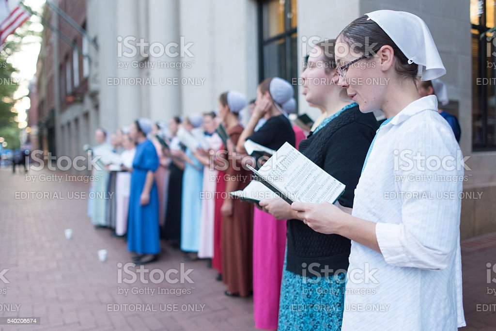 Mennonite Choir in Downtown Mall stock photo