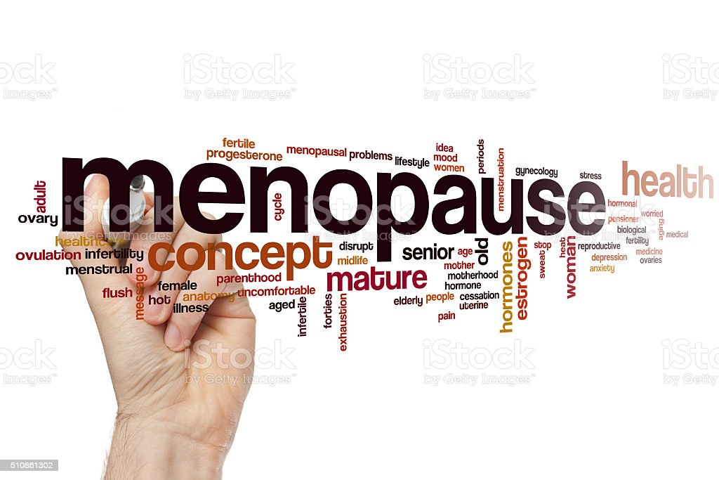 Menopause word cloud stock photo