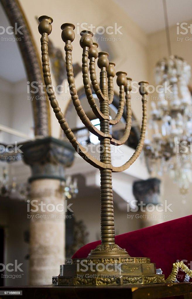 Menorah in Rhodes Synagogue royalty-free stock photo
