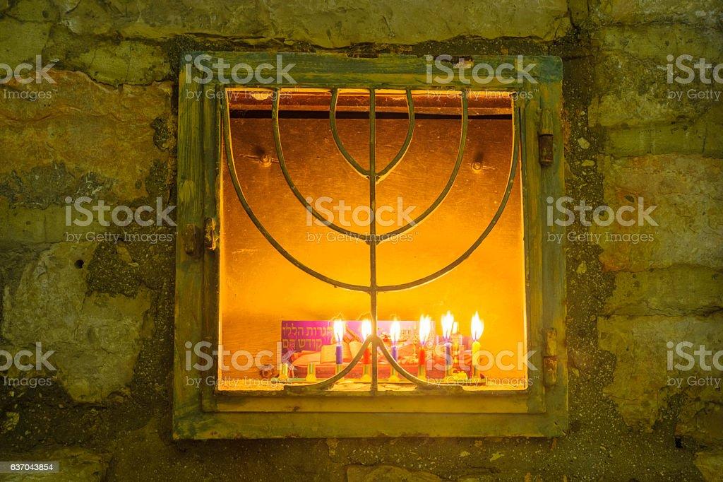 Menorah (Hanukkah Lamp), in the Jewish quarter, Jerusalem stock photo