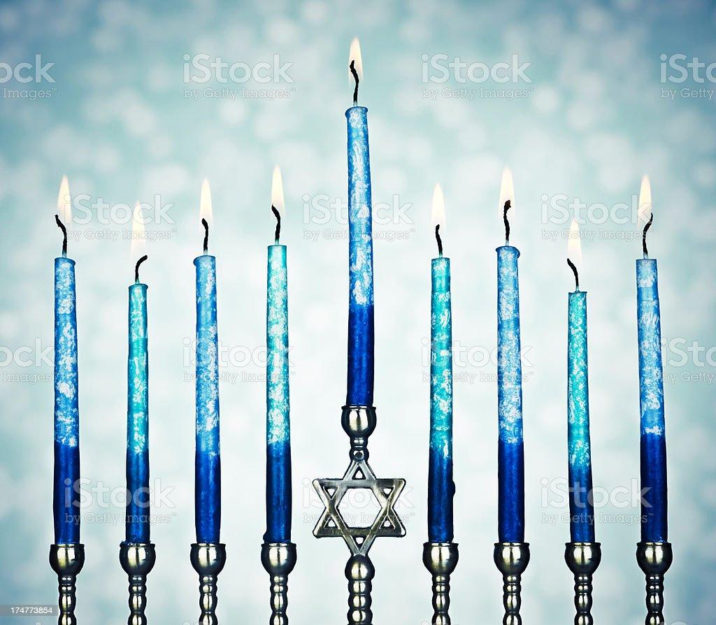Menorah With Burning Candles royalty-free stock photo