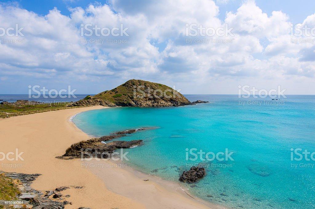 Menorca Cala Sa Mesquida Mao Mahon turquoise beach stock photo