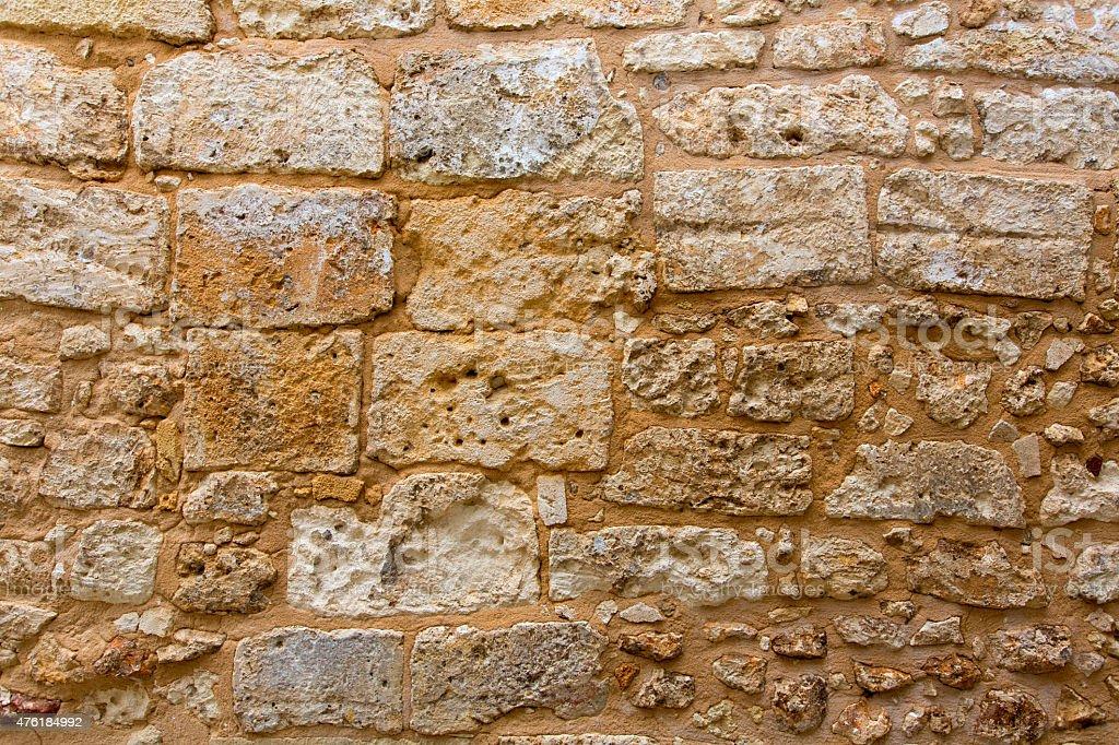 Menorca castle stonewall ashlar masonry wall texture stock photo