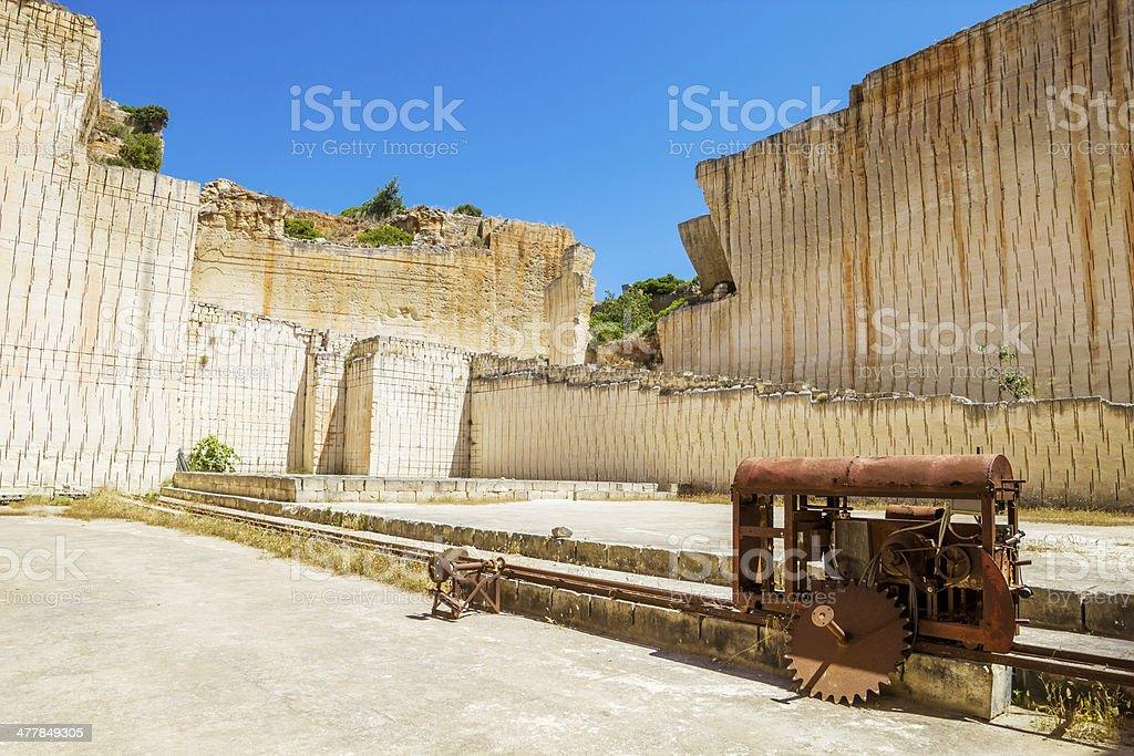 Menorca island S'hostal quarry in sunny day. stock photo