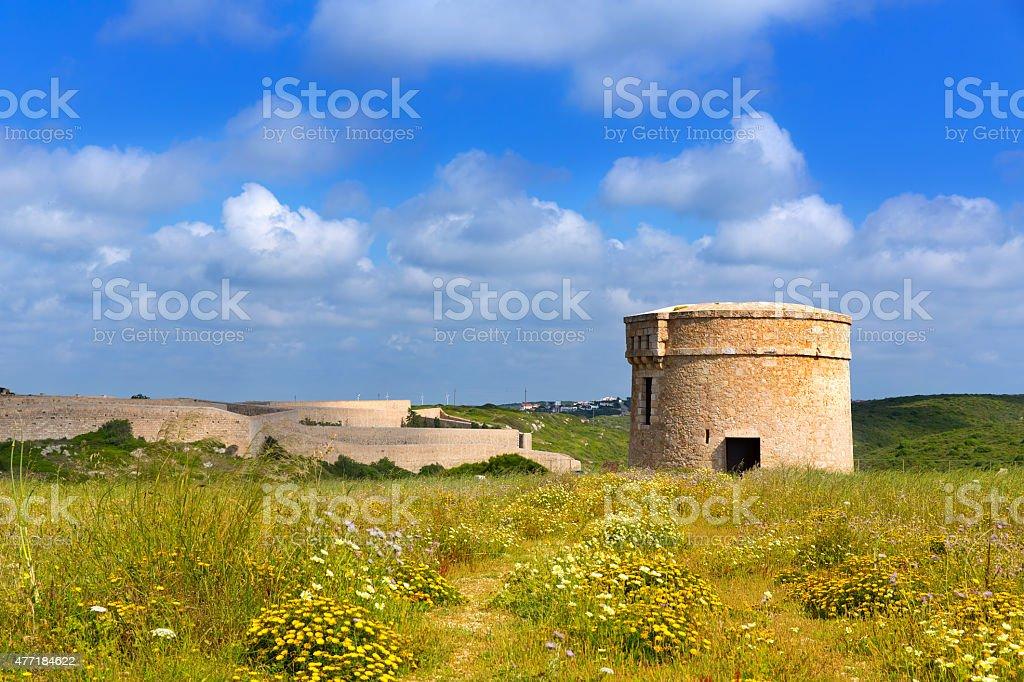 Menorca La Mola watchtower tower Cala Teulera in Mahon stock photo