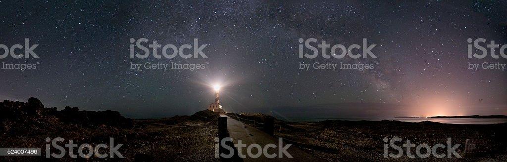 Menorca Lighthouse with Milky Way Pano stock photo