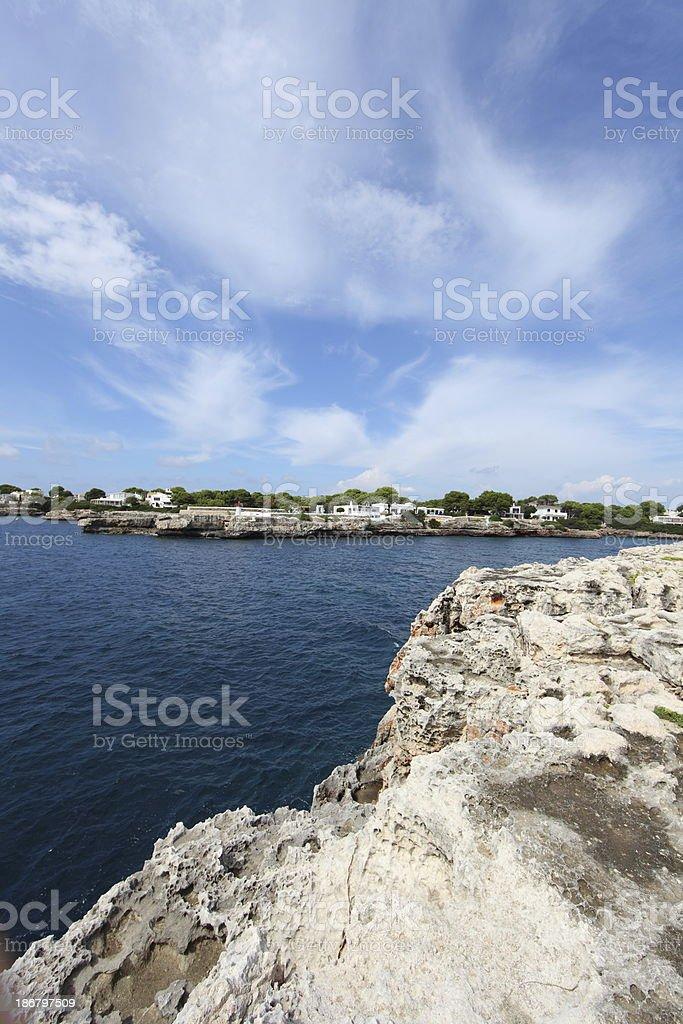 Menorca rocky beach stock photo