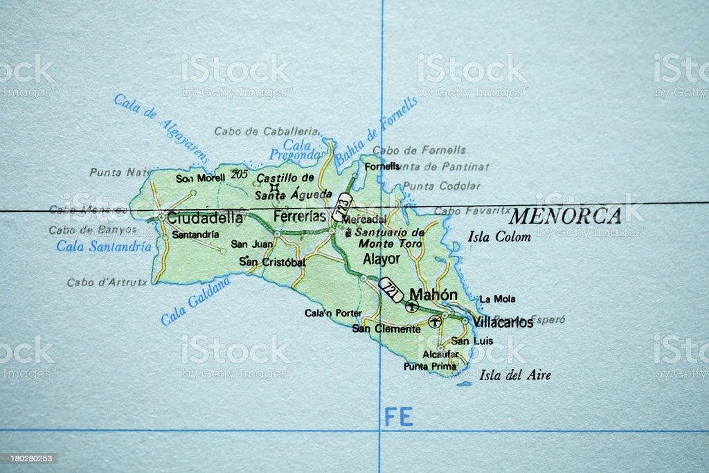 Menorca vintage map. royalty-free stock photo