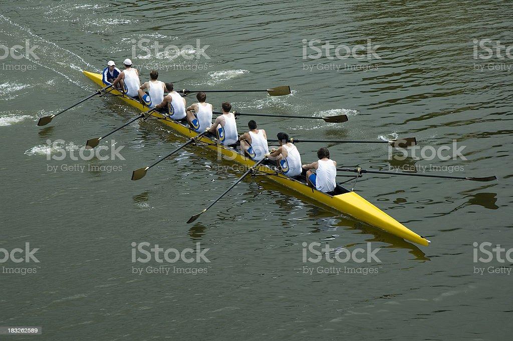 Mens 8 Man Rowing Team - Teamwork royalty-free stock photo