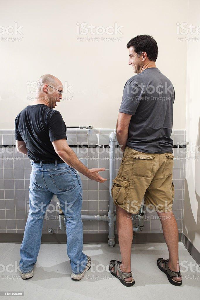Mens Bathroom Surprise stock photo