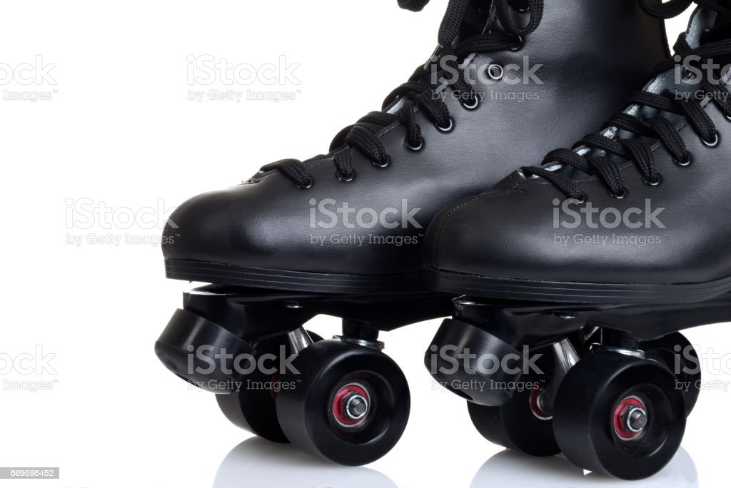 men's black leather quad roller skates stock photo